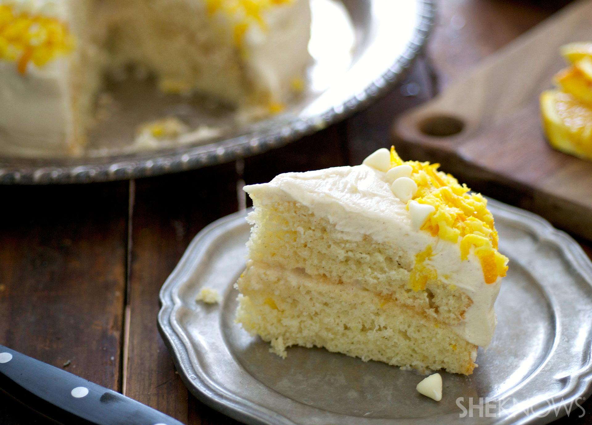 Fresh orange, honey and ricotta wedding cake