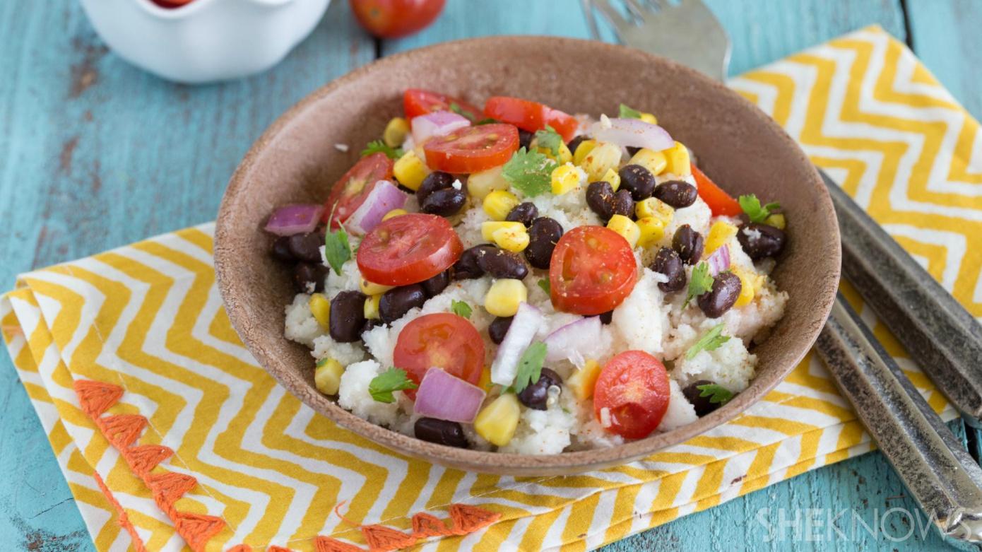 Cauliflower couscous with black beans and cilantro