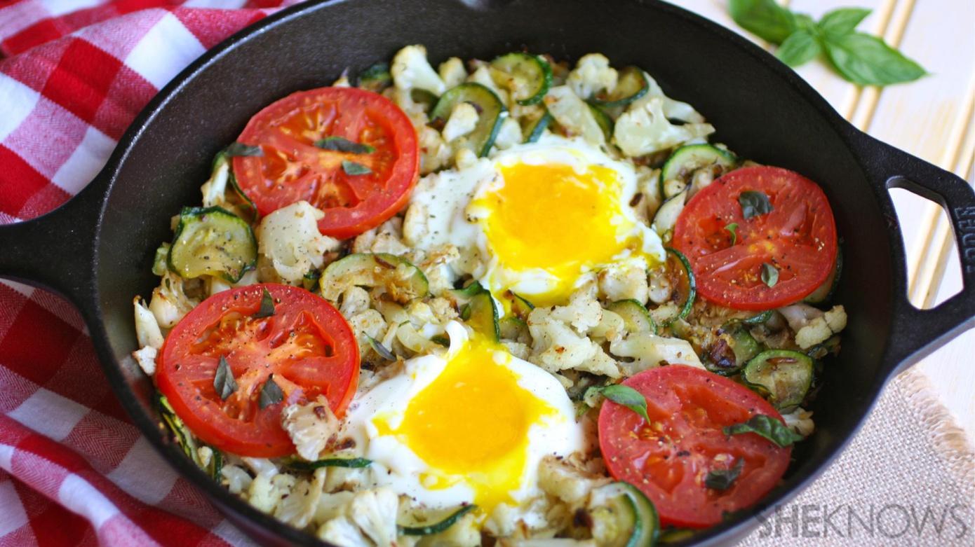 Skillet cauliflower and zucchini hash with egg