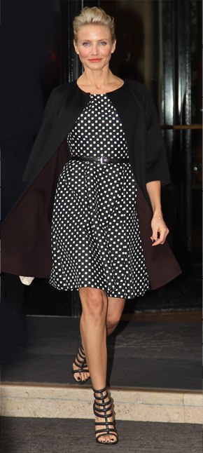 Cameron Diaz wearing polka dot dress