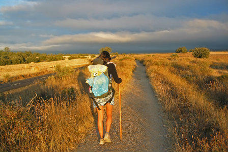 Woman walking the Camino trail