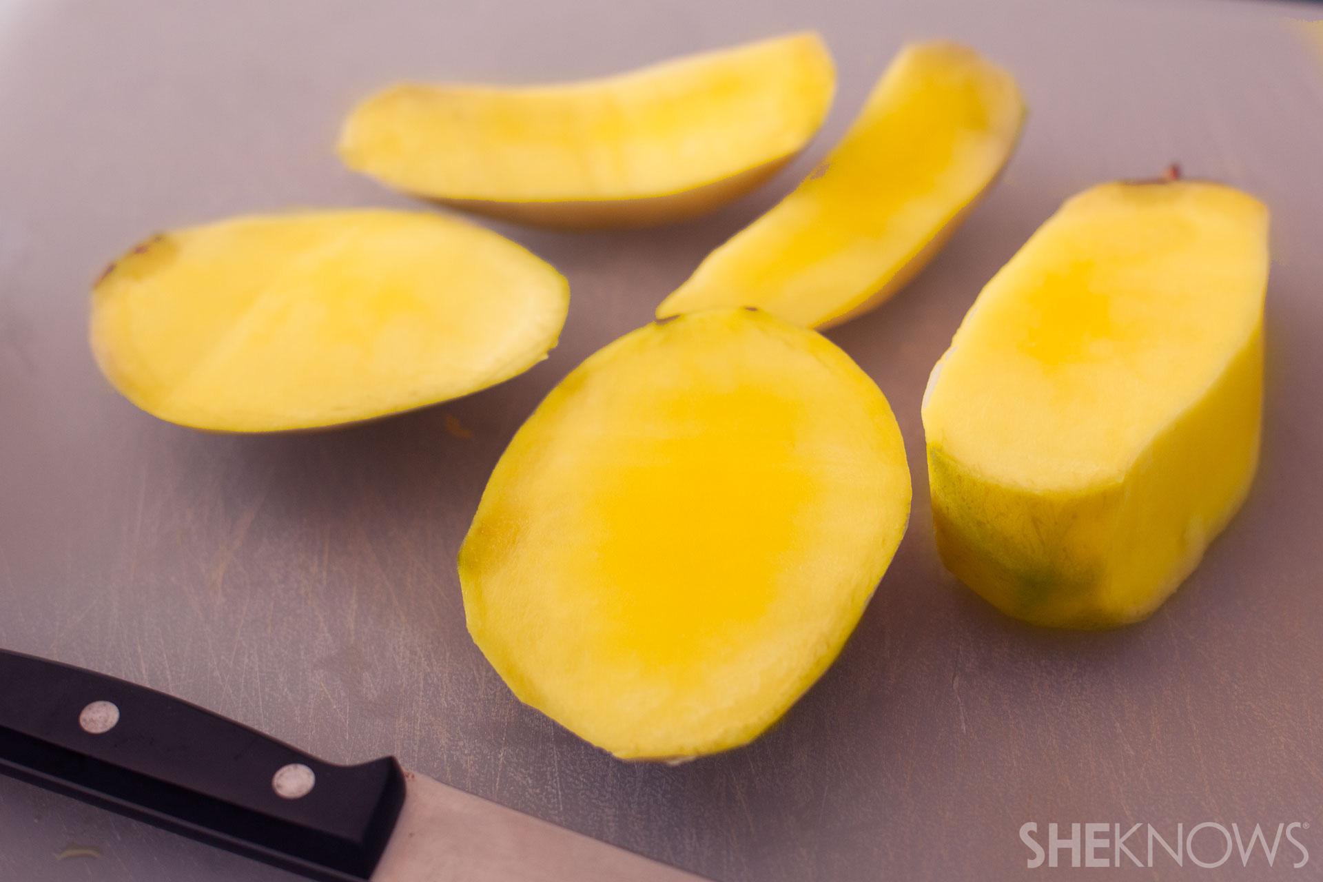 Candy corn fruit skewer tutorial: Step 2