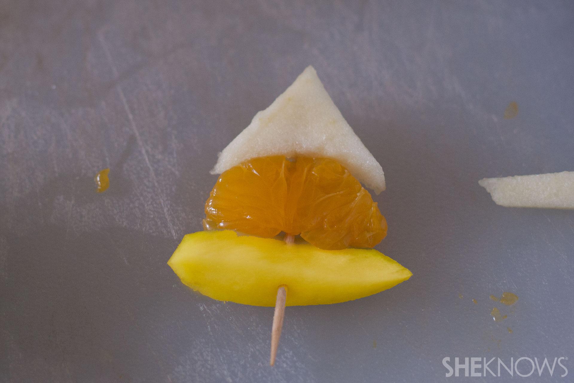 Candy corn fruit skewer tutorial: Step 7