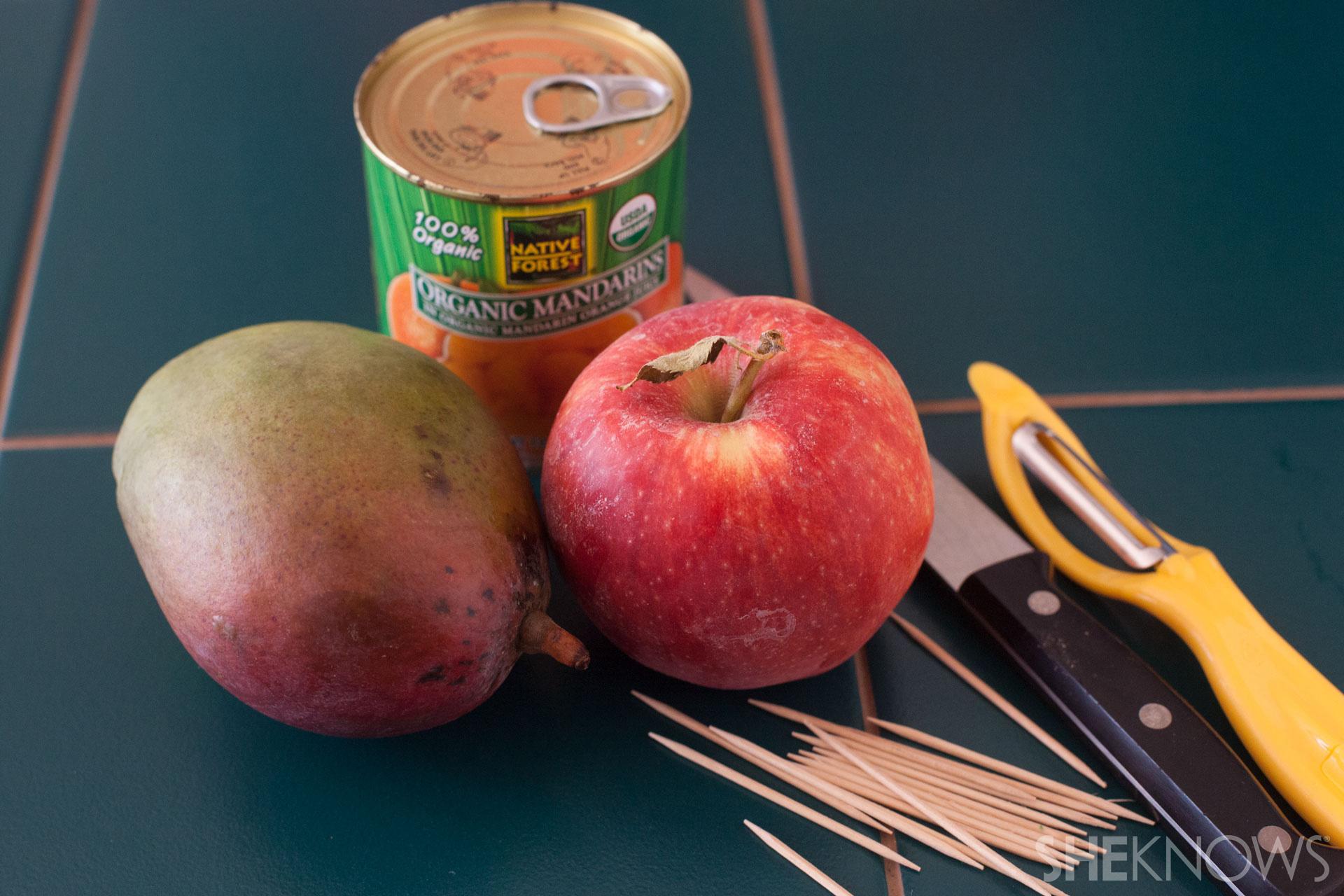 Candy corn fruit skewer tutorial: ingredients