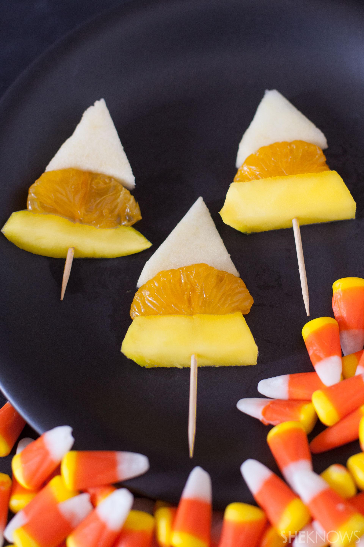 Candy corn fruit skewer tutorial: Finished