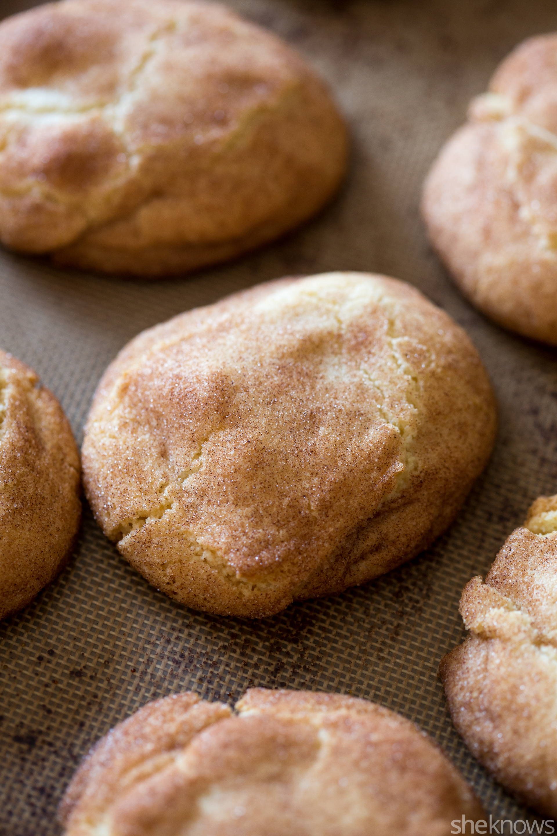 caramel candy stuffed snickerdoodle cookies