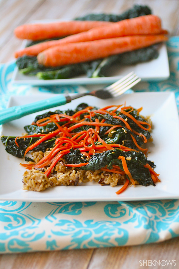 carrot and kale rice stir-fry