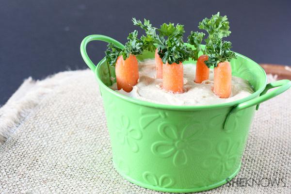 carrots in homemade hummus