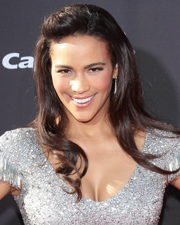 Paula Patton's half up, half down hairstyle