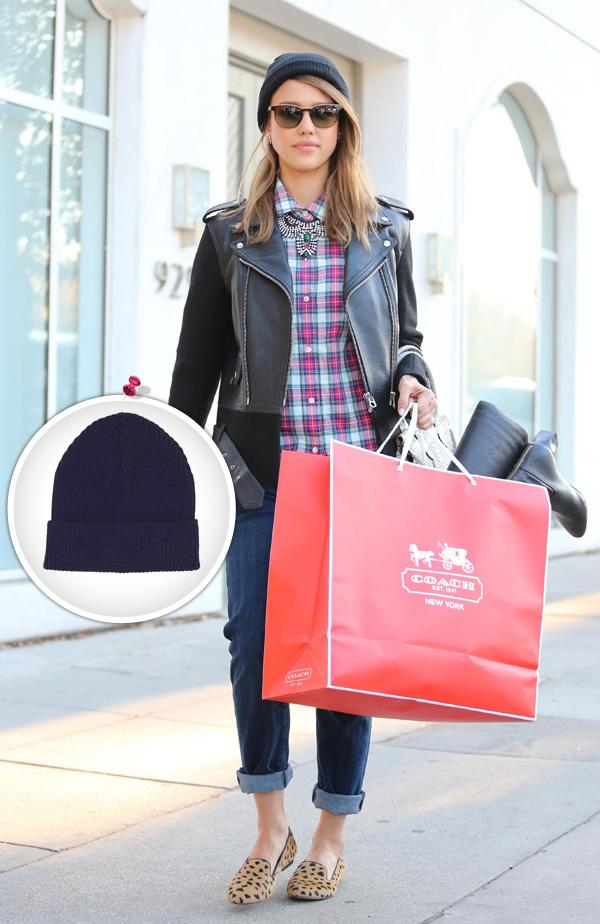 Jessica Alba wearing a beanie