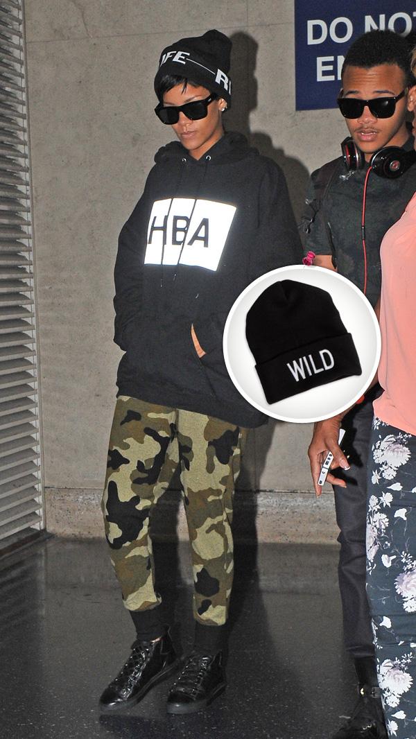Rihanna wearing a beanie