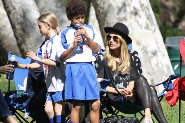 Heidi Klum with her kids at a soccer practice