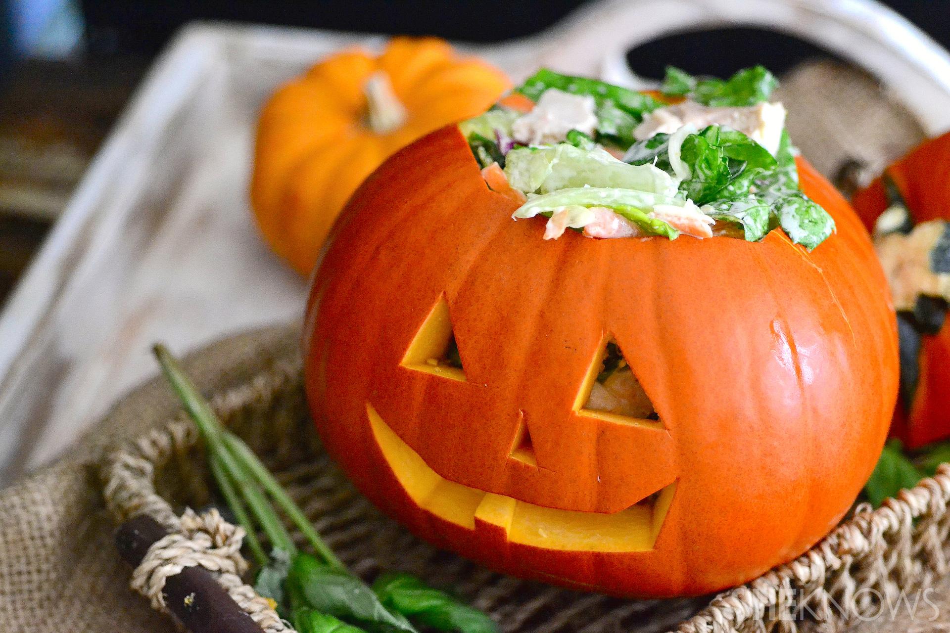 caesar salad stuffed pumpkin