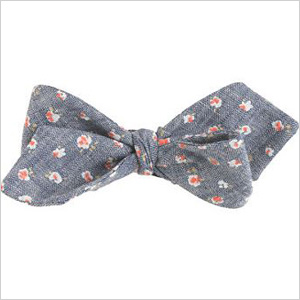 Floral chambray bow tie