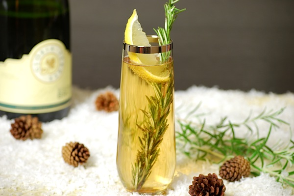 rosemary champagne holiday cocktail