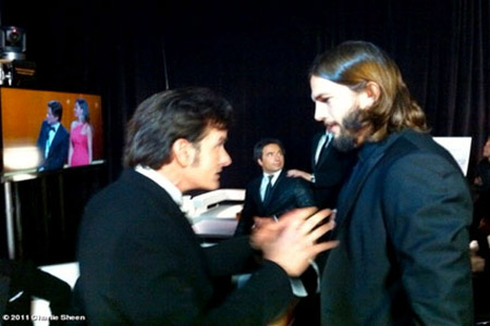 Charlie Sheen meets Ashton Kutcher at Emmys