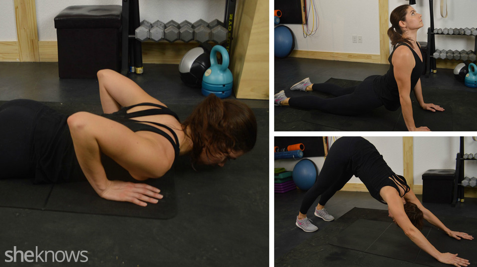 Lower to floor, move to up dog, then downward dog