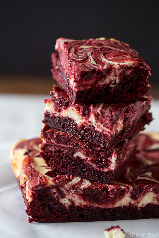 red velvet swirled cheesecake brownies