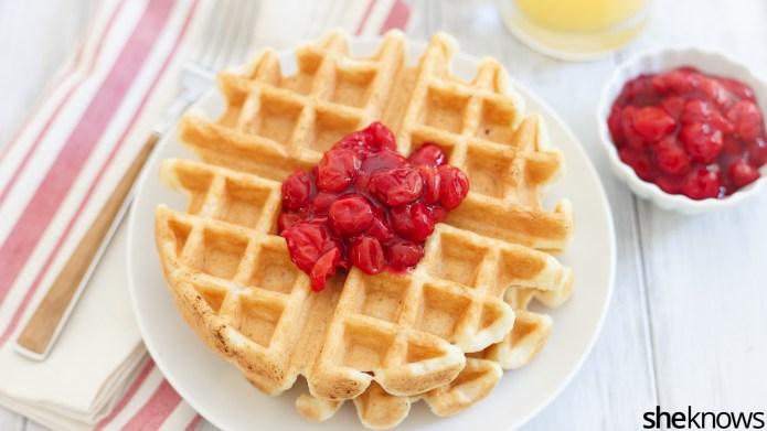 Greek yogurt waffles with cherry pie