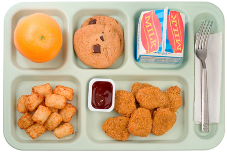 Chicken nugget school lunch
