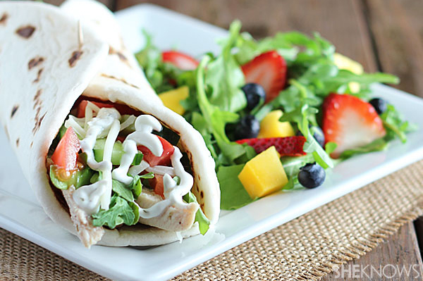 Chicken shawarma and spring fruit salad | Sheknows.com - final product