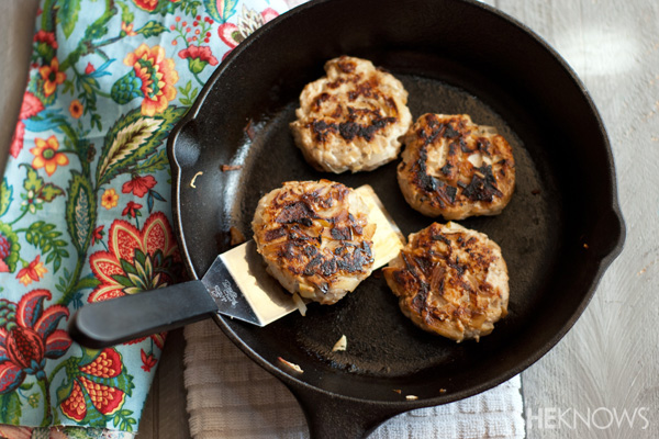 Homemade chicken, apple and sage sausage patties
