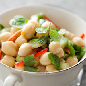 Chickpea salad with cucumbers and herbs