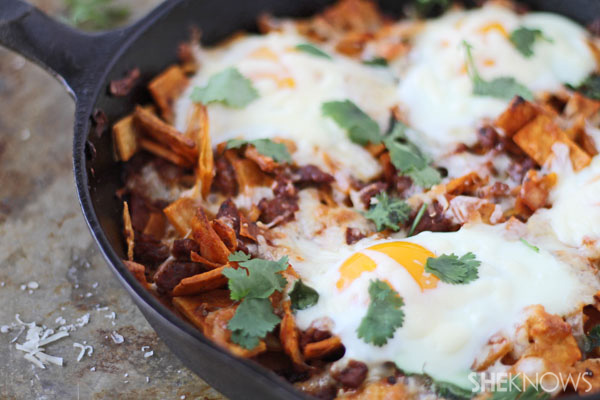 Baked chilaquiles with chorizo and eggs