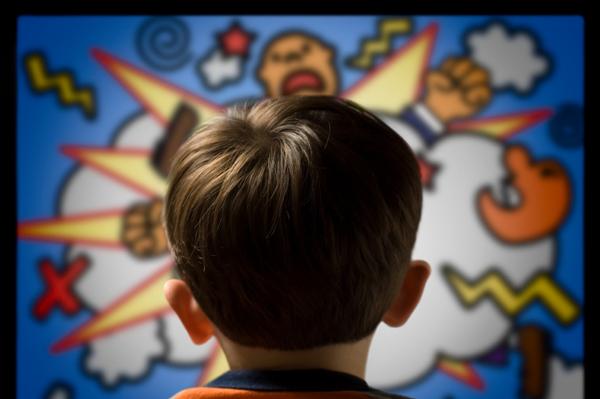 Child watching violent cartoon
