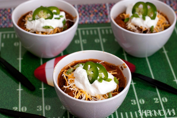 Spicy tailgate beer chili with sharp cheddar