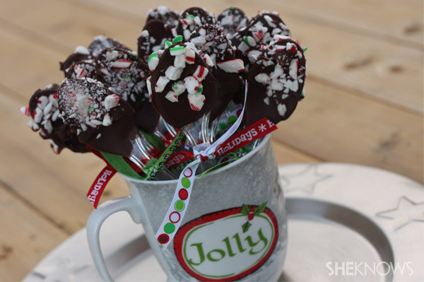 Chocolate peppermint Christmas spoons