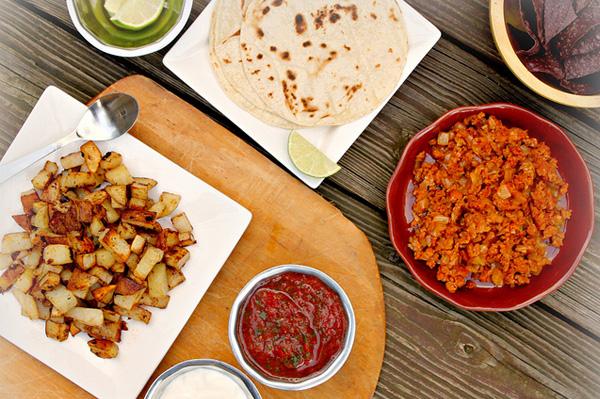 Chorizo and potato soft tacos with homemade salsa
