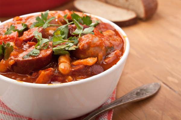 Chorizo, lentil tomato soup