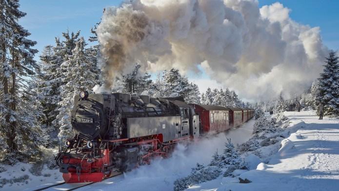 Brockenbahn am Brocken, Harz, Sachsen Anhalt,