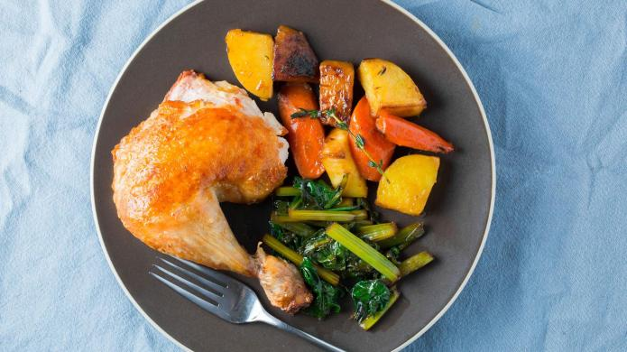One-skillet whole chicken with root vegetables