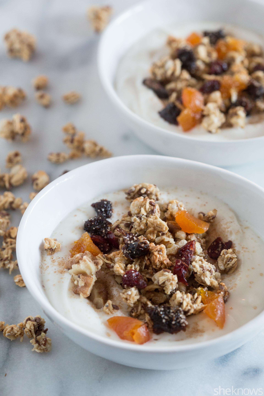 coconut oil granola overtop vanilla Greek yogurt