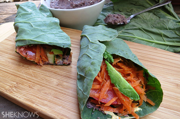 Collar greens wraps with black bean hummus | Sheknows.com