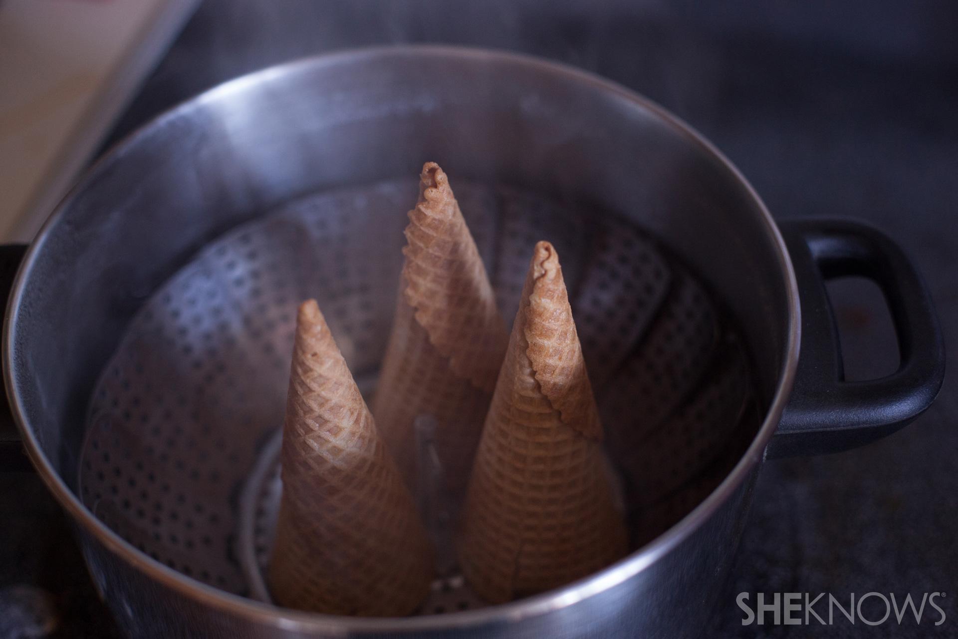 Fruit filled ice cream cone cornucopias