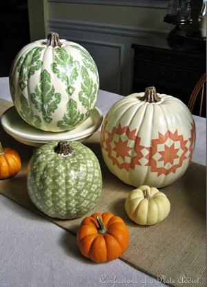Decoupaging pumpkins