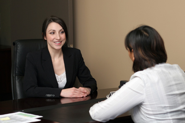 Confident woman being interviewed