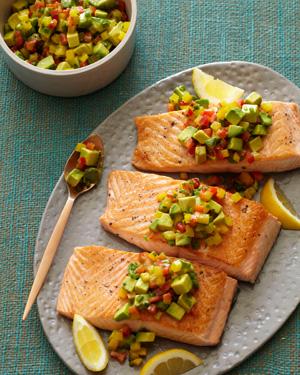 Pan-seared Salmon with Avocado-Pepper Relish