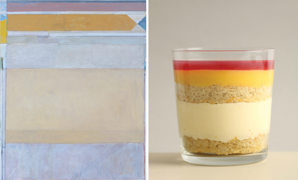 Caitlin's Diebenkorn Trifle from Modern Art Desserts, and the original artwork, Ocean Park #122 by Richard Diebenkorn