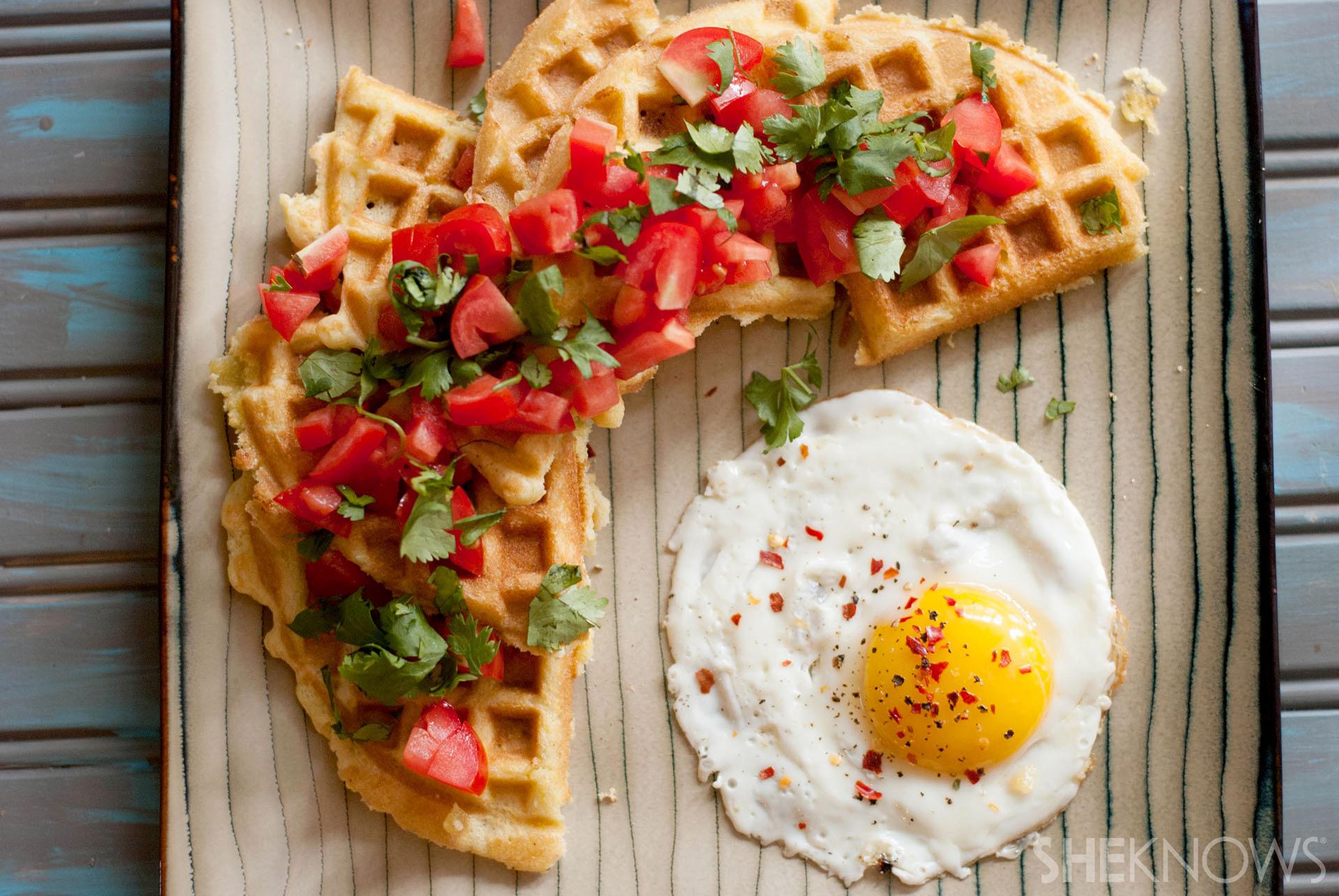 Savory green chili cheddar corn bread waffles recipe