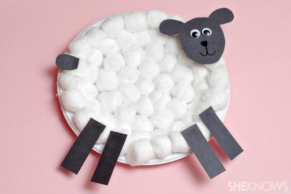 Cotton ball lamb craft
