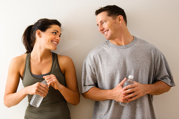 Couple working out together.