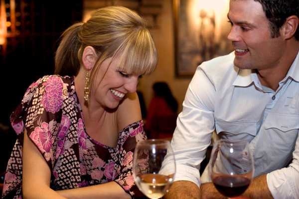 Couple at wine-tasting event