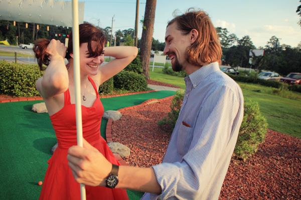 Couple on mini-golf date