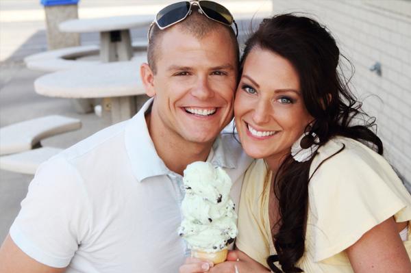 Couple sharing ice cream