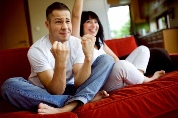 Couple watching sports