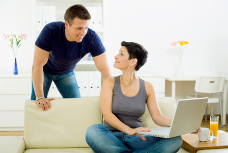 Couple working at home